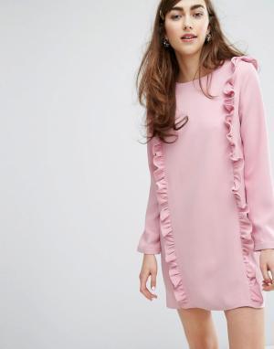 Sister jane Платье с длинными рукавами и рюшами. Цвет: розовый