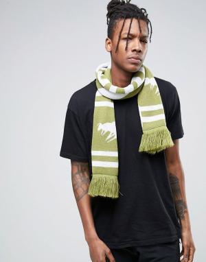 Abuze London Вязаный шарф с шевронным узором. Цвет: зеленый