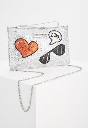 Клатч Love Moschino. Цвет: серебряный