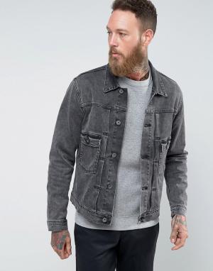 Edwin Черная джинсовая куртка с эффектом кислотной стирки E-Classic. Цвет: черный