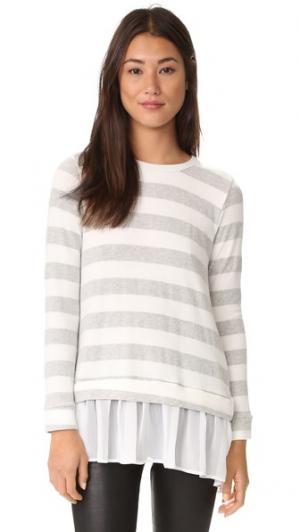 Развевающийся свитер с отделкой шифоном сзади LIV. Цвет: голубой