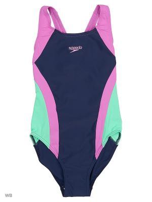 Слитный купальник Speedo. Цвет: темно-синий, зеленый, розовый