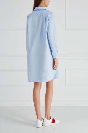 Хлопковое платье-рубашка Cyrille Gassiline. Цвет: голубой