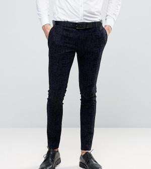 Noak Супероблегающие брюки с бархатистой отделкой. Цвет: темно-синий