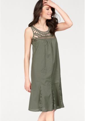 Платье Aniston. Цвет: оливково-зеленый, черный