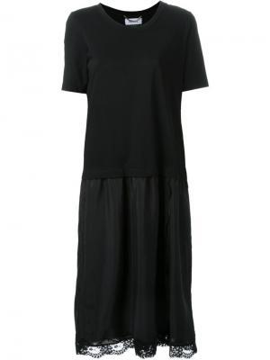 Платье-футболка с кружевной отделкой Muveil. Цвет: чёрный
