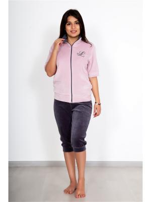 Костюм (футболка,бриджи) Lika Dress. Цвет: темно-серый, бледно-розовый