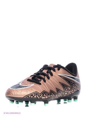 Бутсы JR HYPERVENOM PHELON II FG Nike. Цвет: темно-бежевый, бледно-розовый, бронзовый