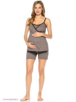 Комплект домашней одежды для беременных и кормления ( майка, шорты) 40 недель. Цвет: коричневый