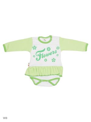 Платье-боди Babycollection. Цвет: салатовый