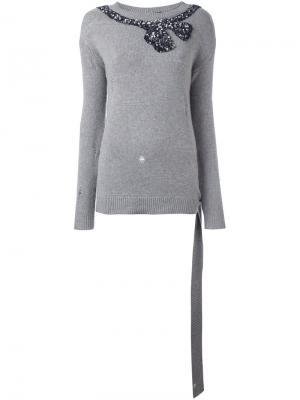 Джемпер с вышивкой банта из пайеток Marc Jacobs. Цвет: серый
