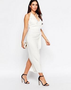 VLabel London Платье миди с оборкой спереди Hayes. Цвет: белый