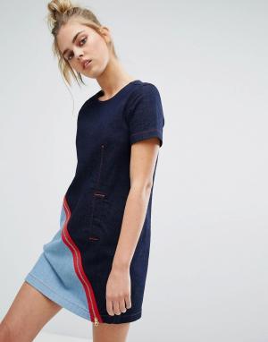 House of Holland Джинсовое цельнокройное платье с контрастной молнией. Цвет: синий