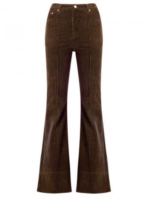 Расклешенные бархатные брюки с высокой талией Amapô. Цвет: коричневый