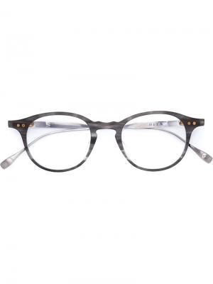 Очки в круглой оправе Dita Eyewear. Цвет: серый