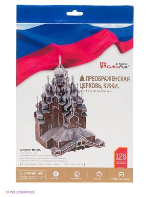 Пазл Преображенская церковь, Кижи, Россия CubicFun. Цвет: белый, синий, красный