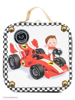 Набор пазлов в квадратном чемоданчике Формула 1 Janod. Цвет: белый, красный