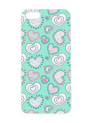 Чехол для iPhone 5/5s Сердца на бирюзовом-2 Chocopony. Цвет: белый, бирюзовый, розовый
