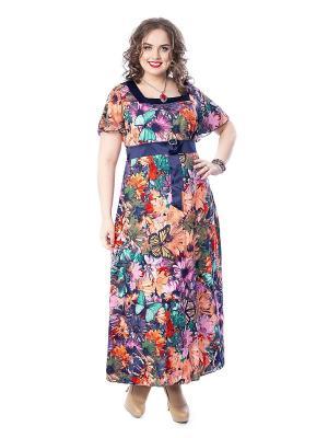 Платье Wisell. Цвет: синий, оранжевый
