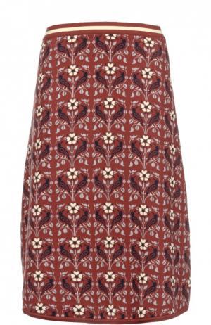 Хлопковая вязаная юбка А-силуэта Tak.Ori. Цвет: бордовый