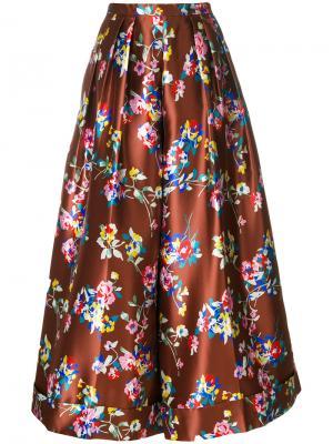 Расклешенные брюки с цветочным рисунком Delpozo. Цвет: коричневый