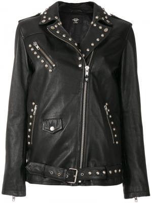 Байкерская куртка с заклепками Htc Hollywood Trading Company. Цвет: чёрный