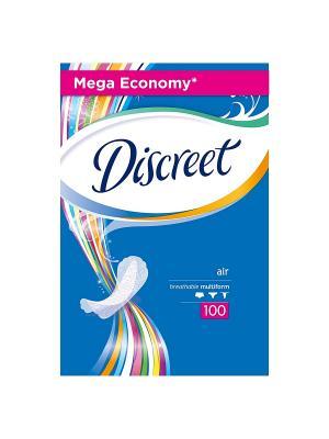 Женские гигиенические прокладки на каждый день Air, 100шт DISCREET. Цвет: белый, темно-синий