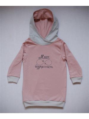 Платье-худи пудровое Мисс безупречность TRENDYCO Kids. Цвет: бледно-розовый, светло-серый