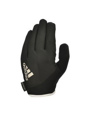 Перчатки для фитнеса (с пальцами) Adidas Essential черно\белые размер M. Цвет: черный