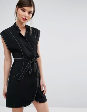 C/meo Collective Платье мини с запахом. Цвет: черный
