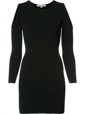 Приталенное платье с вырезами на плечах Elizabeth And James. Цвет: чёрный