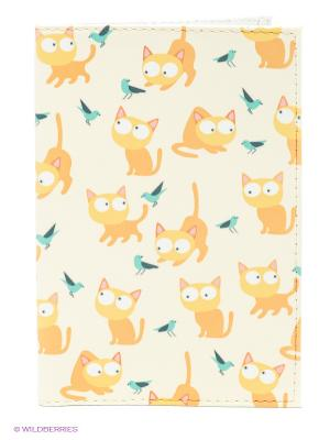 Обложка для паспорта Рыжие кошки Mitya Veselkov. Цвет: молочный, горчичный, желтый