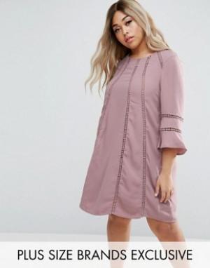 Truly You Цельнокройное платье с расклешенными рукавами. Цвет: фиолетовый