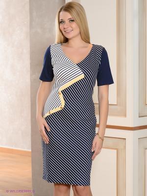 Платье Gemko plus size. Цвет: синий, белый, желтый