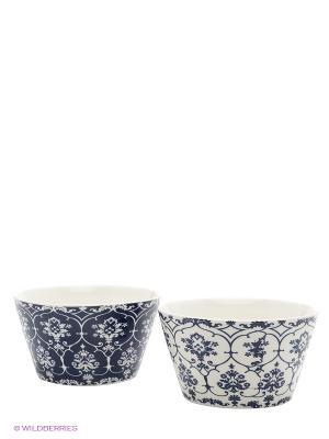 Набор салатников  Орнамент бело-синий Elan Gallery. Цвет: белый, синий