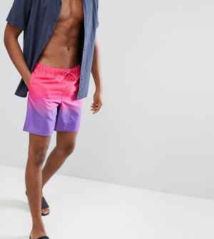 ASOS Фиолетово-розовые шорты для плавания средней длины с эффектом деграде. Цвет: фиолетовый