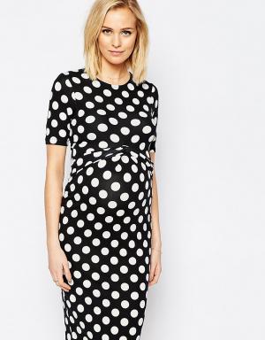 ASOS Maternity Облегающее платье для беременных в горошек с перекрестом Maternit. Цвет: мульти