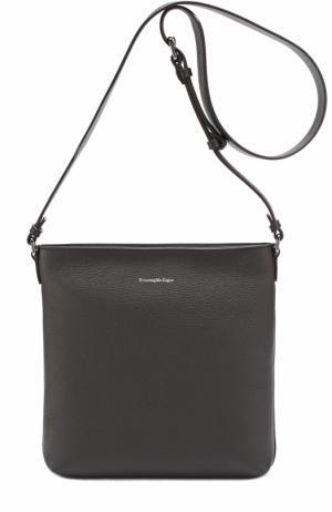 Кожаная сумка-планшет с внешним карманом Ermenegildo Zegna. Цвет: темно-коричневый