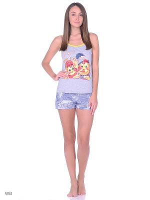 Пижама-топ, шорты NAGOTEX. Цвет: серый