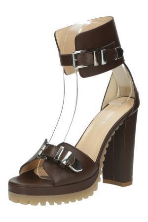 Босоножки на каблуке с ремешками Philosophy di Alberta Ferretti. Цвет: коричневый