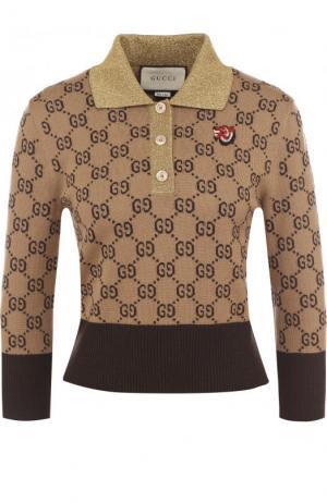 Пуловер с отложным воротником и укороченным рукавом Gucci. Цвет: бежевый