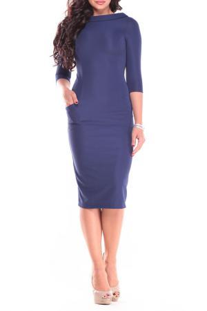 Строгое, модное, приталенное платье Laura Bettini. Цвет: темно-синий