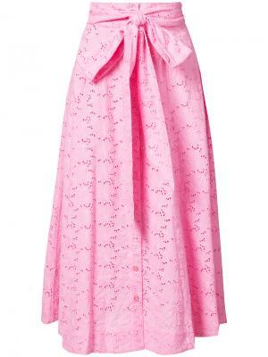 Расклешенная юбка-миди Lisa Marie Fernandez. Цвет: розовый и фиолетовый