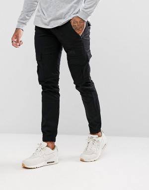 Voi Jeans Суженные книзу джоггеры карго с кромкой манжетом. Цвет: черный