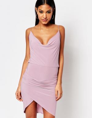 Club L Асимметричное платье со свободным воротом. Цвет: фиолетовый