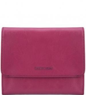 Однотонный кожаный кошелек на кнопке Sergio Belotti. Цвет: фуксия