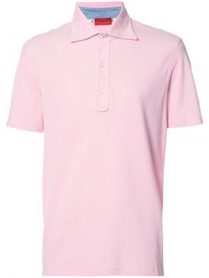 Классическая рубашка-поло Isaia. Цвет: розовый и фиолетовый
