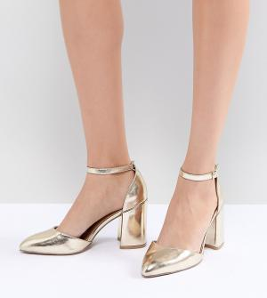 QUPID Остроносые туфли на блочном каблуке. Цвет: золотой