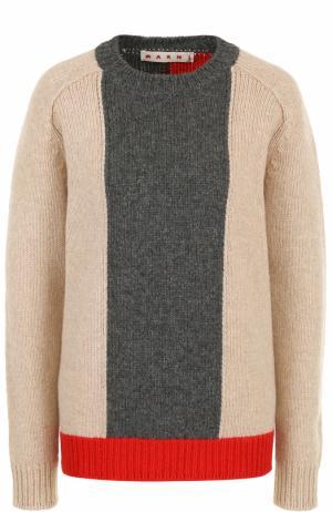 Шерстяной пуловер с круглым вырезом Marni. Цвет: бежевый