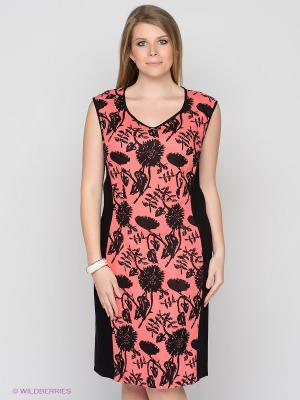 Платье D`imma. Цвет: коралловый, черный
